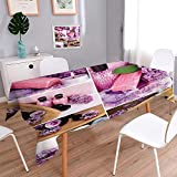 PINAFORE HOME Spillproof Fabric Tablecloth Lilac spa compositions in Collage Great for Buffet Table,Wedding & More/Oblong, 60 x 140 Inch