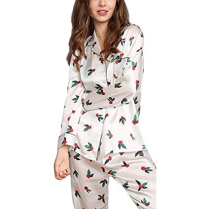 0faedfac48 HUIFANG Conjunto De Pijamas para Mujer Modelo Creativo Blanco 100% Tejido  De Seda Servicio A