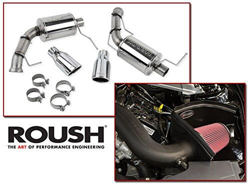2011-2014 Mustang Base V6 3.7L Roush Cold Air Intake & Axle Back Muffler Exhaust Combo Kit