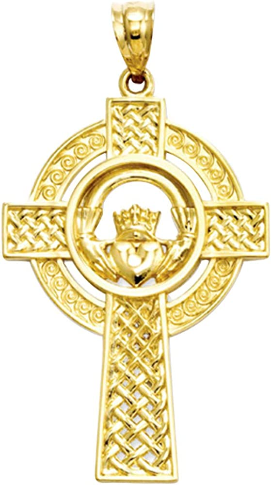 Real 10K Yellow Gold Celtic Spiral cross Pendant Necklaces For Unisex