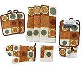 Kitchen Towel Set 7 Piece- Kitchen Towels, Pot Holders, Oven Mitt & Dishcloth - Contemporary Geo Kitchen Design