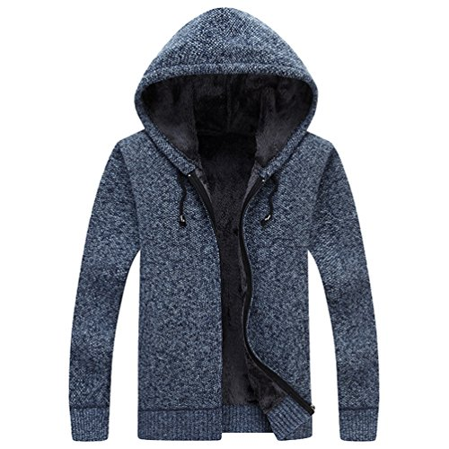 Casual Coat Mens Jumper CHENGYANG Winter Outwear Sweater Hooded Blue Jacket Cardigan Warm F6RZRn4