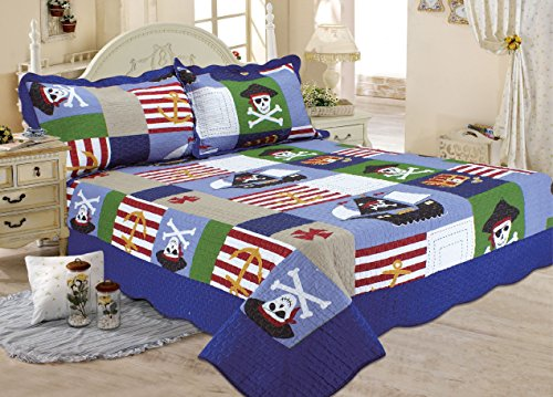 Pirates Theme Pirate Ship Pattern Boys Quilt Set, Full ... : boys quilt - Adamdwight.com