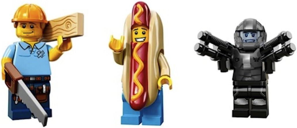 LEGO Carpenter, Hot Dog Man, Space Galaxy Trooper Collectible Minifigures Series 13 Custom Bundle 71008