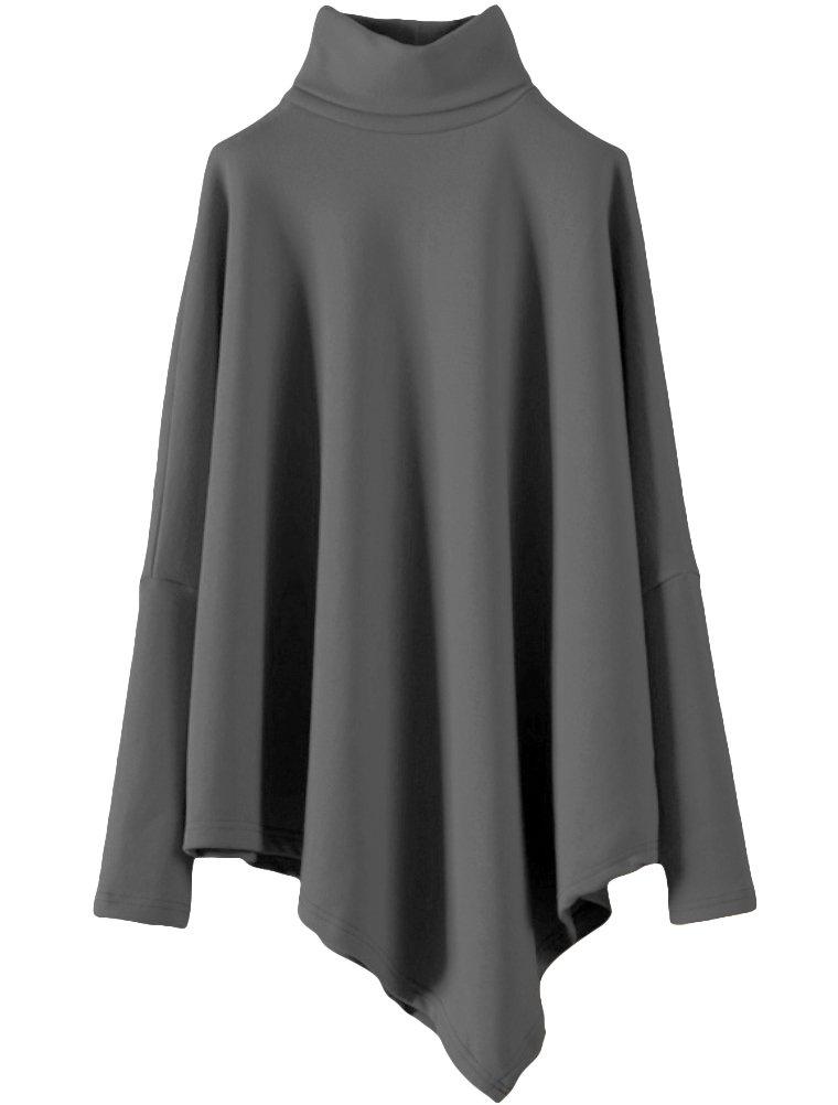 Minibee Women's Turtleneck Long Sleeve Asymmetric Hem Casual Tunic Tops Dark Gray XL