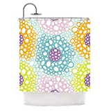 Whimsical Geometric Floral Design, Abstract Top Shower Curtain, Printed Circles Polka Dots Pattern, Premium Modern Home Adults Kids Bathroom Decoration, Bright Artful Motif, Blue, Yellow, Size 69 x 70