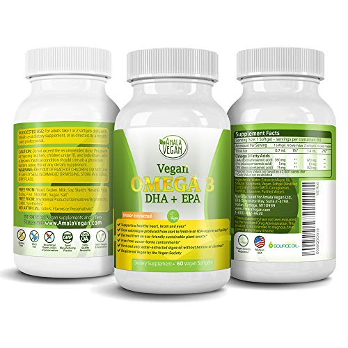 Potent Vegan Omega 3 Supplement w/Essential Fatty Acids, DHA & EPA & DPA - Vegetarian Marine Algal Based & Non GMO softgels - Improve Joint, Eye, Heart, Skin & Brain Health - Better Than Fish Oil (Best Source Of Omega 3 Fatty Acids For Vegetarians)