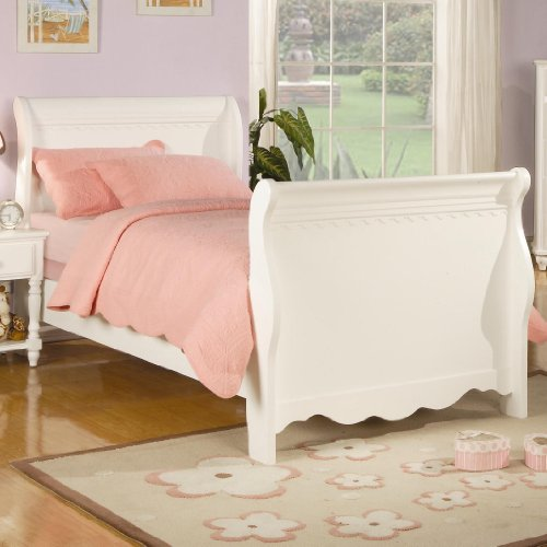 Coaster Furniture 400360F Pepper Youth Full Sleigh Bed In White (Girls Sleigh Bed)
