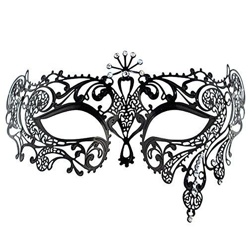 Coxeer® Black Luxury Metal Filigree Princess Masquerade Mask (#10)