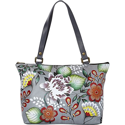 Anna by Anuschka Women's Genuine Leather Large Classic Tote | Hand Painted Original Artwork | Garden of Eden