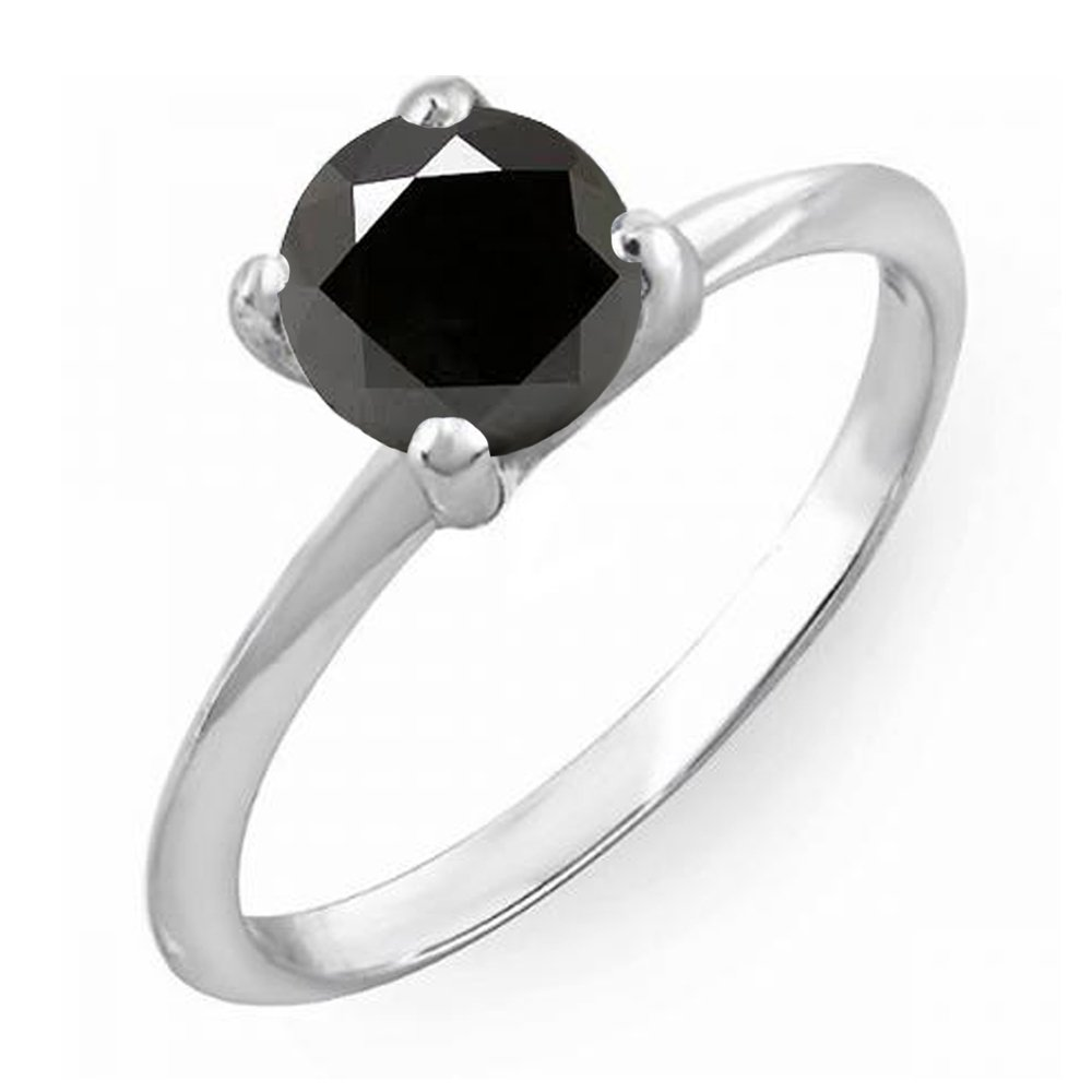 1.00 Carat (ctw) Sterling Silver Black Diamond Bridal Engagement Solitaire Ring 1 CT (Size 7)