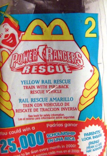 McDonald's Happy Meal Toy - 2000 - Power Rangers Rescue - #2 Yellow Rail Rescue