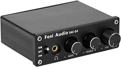Fosi Audio Q4 DAC e Amplificatore per Cuffie e Mini Adattatore per Convertitore Audio Digitale//Analogico Stereo per Altoparlanti o Cuffie Attivi USB a 24 bit//192 kHz//Ottic //Coassiale a RCA