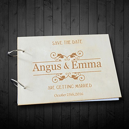 Personalized Wedding Gifts Hard Paper Surface Wedding Scrapbook Photo Albums Personalized Bride and Groom Name Getting Married Wedding Guest Book