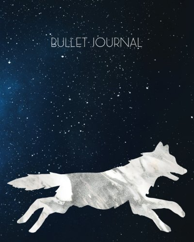 Download Bullet Journal: Silver Marble Sky Wolf Blank 8x10 Dot Grid Softcover Notebook, 160 pages, with Vintage Dog Constellation Wild Animal Zodiac Design PDF