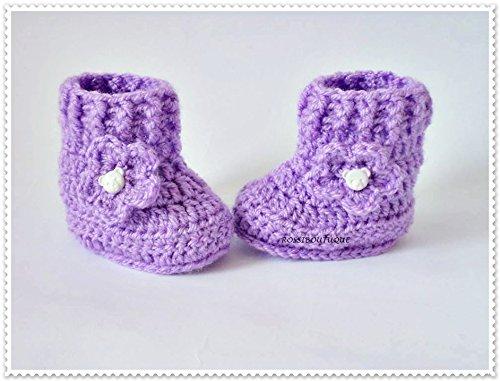 8ac838b2e Amazon.com: Crochet baby boots, Crochet baby booties, Purple baby ...
