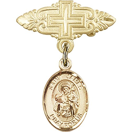 14kt Yellow Gold Baby Badge with St. James the Greater Charm and Badge Pin with Cross 1 X 3/4 inches by Bonyak Jewelry Saint Medal Collection