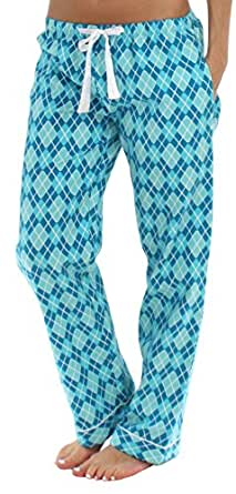 PajamaMania Women's Sleepwear Flannel Pajama PJ Pants, Blue Argyle (PMF1001-2040-XS)