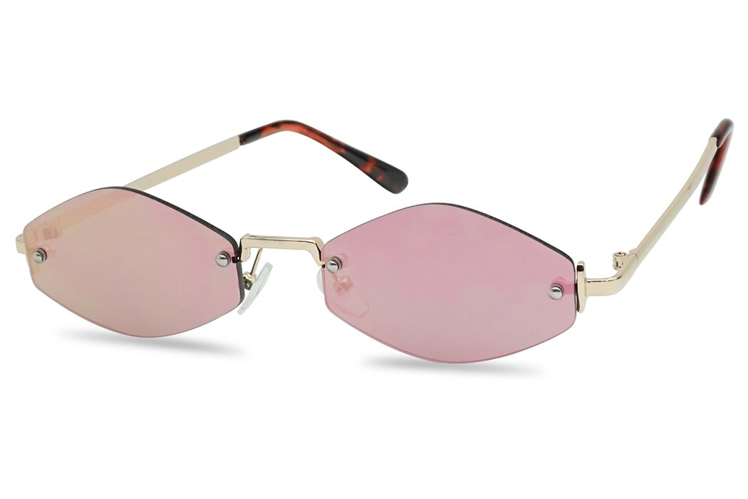 90's Small Oval Narrow Rimless Geometric Color Mirrored Sun Glasses (Gold Frame | Pink) by SunglassUP