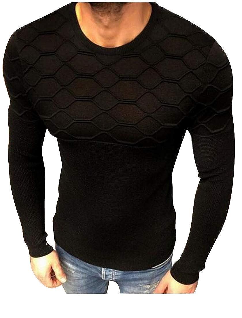 Fubotevic Men Slim Autumn Winter Long Sleeve Round Neck Knitting Pullover Sweater Jumper Tops