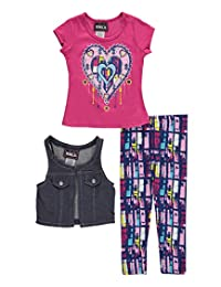 """RMLA Little Girls' """"Bejeweled Denim-Look"""" 3-Piece Outfit"""