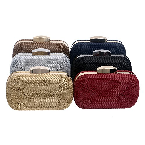 Bag Knitted coffee Fashion Party Style Small Metal Messenger Bags KYS Wedding Purse Bags Vintage Day Clutches For Women Evening xRqTIwU