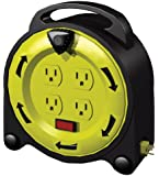 Stanley 33958 4-Outlet 20-Foot Grounded Indoor Power Cord, Black Cord/Yellow Case