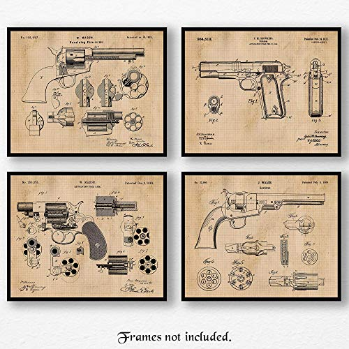 Vintage Colt & Peacemaker Gun Patent Poster Prints, Set of 4 (8x10) Unframed Photos, Wall Art Decor Gifts Under 20 for Home, Office, Man Cave, College Student, Teacher, Cowboys, NRA & Movies Fan