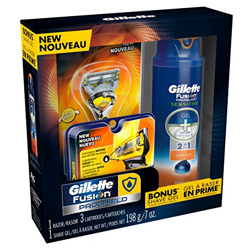Gillette Fusion Proshield Pack - 2 Blade Refills with 1 Handle and Proglide Sensitive Shave Gel 177Ml