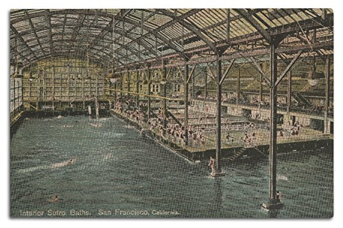 (San Francisco, California - Interior View of The Indoor Sutro Baths - Vintage Halftone (12x18 Wood Wall Sign, Wall Decor Ready to Hang))