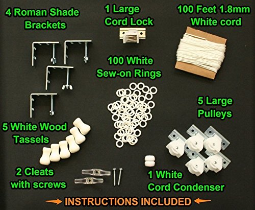 All-in-One LARGE ROMAN SHADE HARDWARE KIT, in White (cord lock, pulleys, cord, brackets, cleats, rings, cord condenser) Pulley Ring