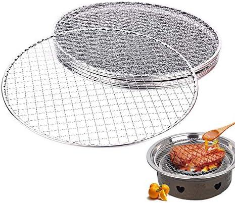 Filet de Barbecue Rond Fil antiadhésif Filet en Acier Inoxydable Filet de Cuisson en Carbone Barbecue Grill Camping Barbecue Outils 26cm