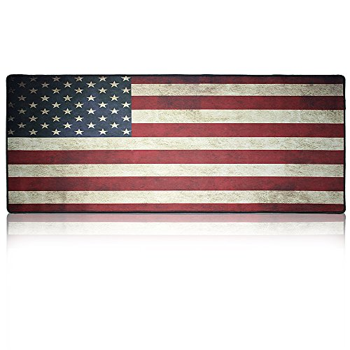 Nongmen Large Mouse Pad Gaming & Desk Keyboard Mat Size Mouse Pad Extended Gaming Mouse Mat with Stitched Edges+ Non-slip Rubber Base for Laptop Computer Mouse Keyboard- American Flag