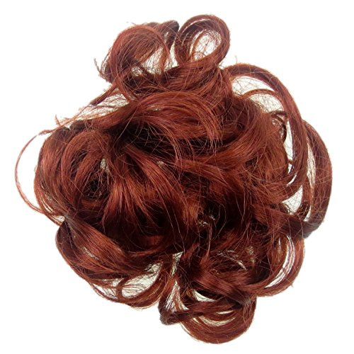 New Style Hair Extension Red Scrunchie Updo Curly Fire Copper Red Twist On El... (Fire Red Wine)