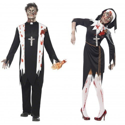 Mens & Ladies Couples Fancy Dress Zombie Nun & Priest Halloween Horro Sister Father Religious Costumes Outfits (Ladies UK 12-14 & Mens Large) by Fancy (Priest Outfit Halloween)
