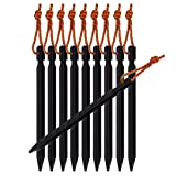 Tripmas Ultralight Aluminum Tent Stakes Rhombic Tent Pegs with Reflective Pull Cords & Pouch, Black (Pack of 10)