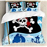 Pirate Queen Size Duvet Cover Set by Ambesonne, Danger Sign Beware of Pirates Skull with Hat Cross Bones Flag Deserted Island, Decorative 3 Piece Bedding Set with 2 Pillow Shams, Blue Black White
