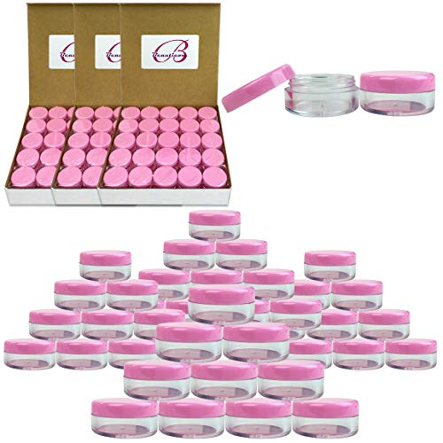 ((Quantity: 200 Pcs) Beauticom 5G/5ML Round Clear Jars with Pink Lids for Cosmetics, Medication, Lab and Field Research Samples, Beauty and Health Aids - BPA Free)