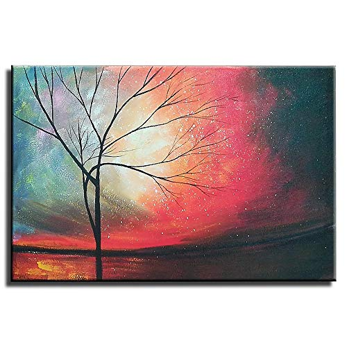 "Gincleey Hand Painted Oil Paintings On Canvas, Textured Abstract Artwork Sunset Landscape Tree Painting Framed Red Wall Art Pictures Lving Room Bedroom Office Black Decor Ready to Hang 24"" H x 36"" W"