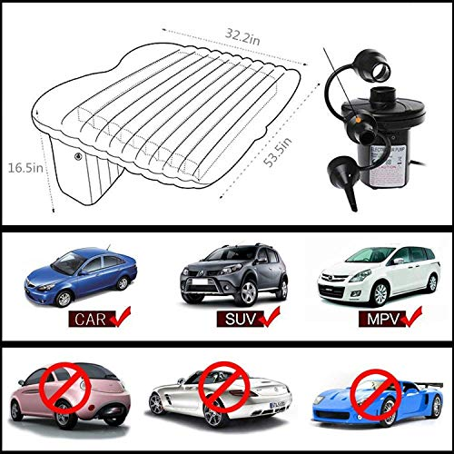 Car Inflatable Mattress Travel Multifuction Use Air Mattress Bed with 2 Pillows for Outdoor Camping