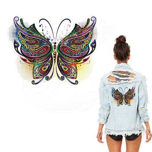 ESH7 1Pcs 26X19.7cm Multicolor Butterfly Stickers Iron on Patches DIY Patch on Clothes Jacket Thermal Transfer