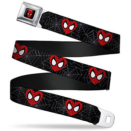 Buckle-Down Seatbelt Belt - Spider-Man Heart Face/Web Black/Gray - 1.5