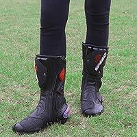 WERT Botas de Moto Botas Deportivas de Cuero para Hombre Botas de Motocross Protectoras en Carretera Zapatos con Cremallera Lateral c/ómodos Botas de Jinete,Red-40