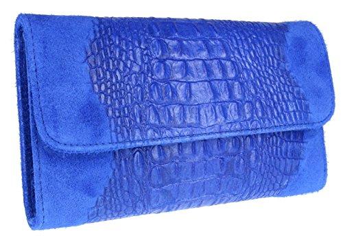 Bag Leather Suede Italian Clutch Blue Girly HandBags Croc Royal qPwxIY