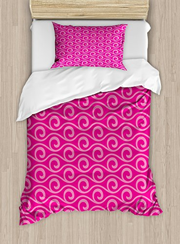 Ambesonne Hot Pink Duvet Cover Set Twin Size, Ocean Waves In
