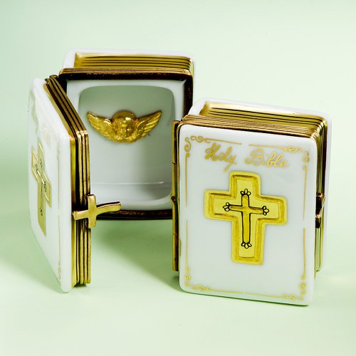 Authentic French Hand Painted Limoges Porcelain Bible Box with Angel, EACH