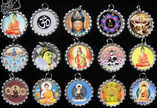 15 BUDDHA Flat Bottle Cap Necklaces for Birthday, Party Favor Set - Big Flats Buddha