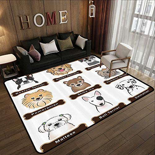Floor mat,Dog Lover Decor,Various Type of Dogs Nameplate Boston Terrier Domestic Animal Faithful Loyal,Grey Cream White 71