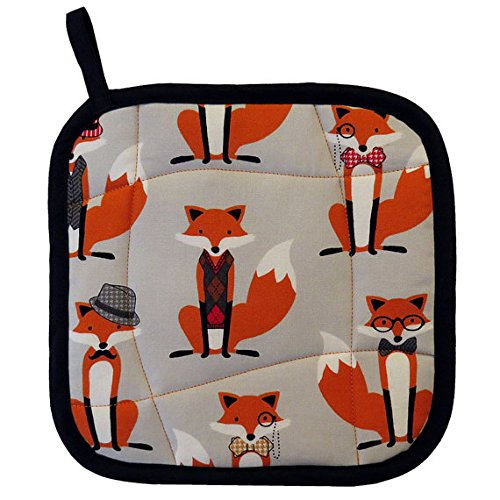 Fox and the Houndstooth Pot Holder - Handmade