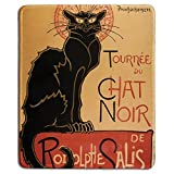 dealzEpic - Art Mousepad - Natural Rubber Mouse Pad with Famous Classic Vintage Black Cat Poster Tour of Rodolphe Salis' Chat Noir Design - Stitched Edges - 9.5x7.9 inches